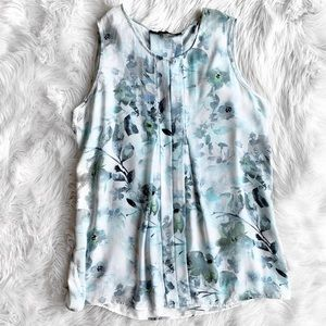 Rose & Olive Blue Floral Sleeveless Blouse B1035